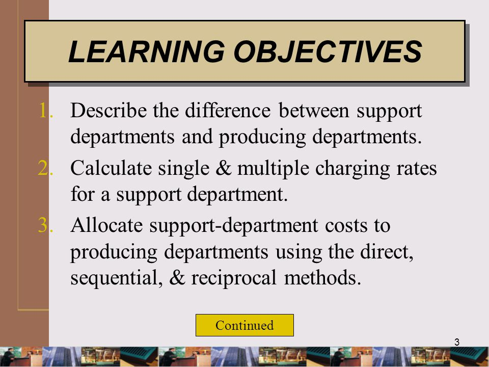 4 4.Compute departmental overhead rates.5.Describe the allocation of joint costs to products.