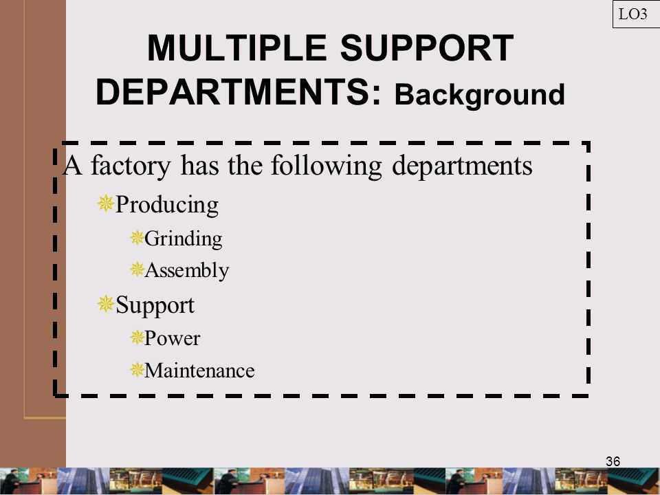 36 MULTIPLE SUPPORT DEPARTMENTS: Background LO3 A factory has the following departments  Producing  Grinding  Assembly  Support  Power  Maintenance