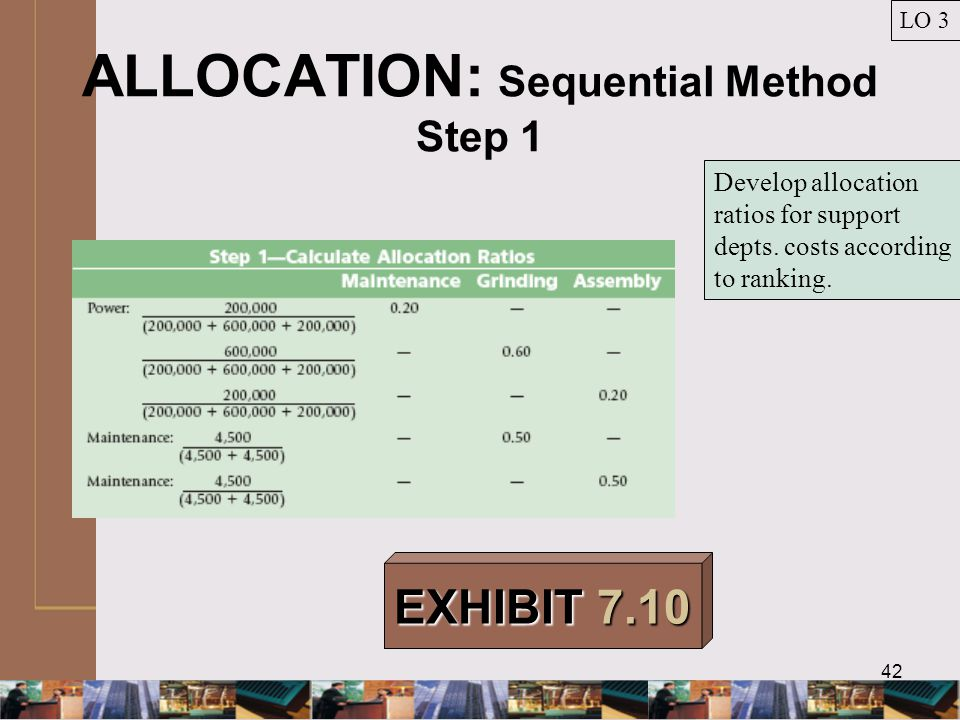 42 ALLOCATION: Sequential Method Step 1 LO 3 EXHIBIT 7.10 Develop allocation ratios for support depts.