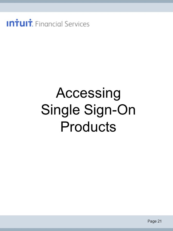 Page 21 Accessing Single Sign-On Products