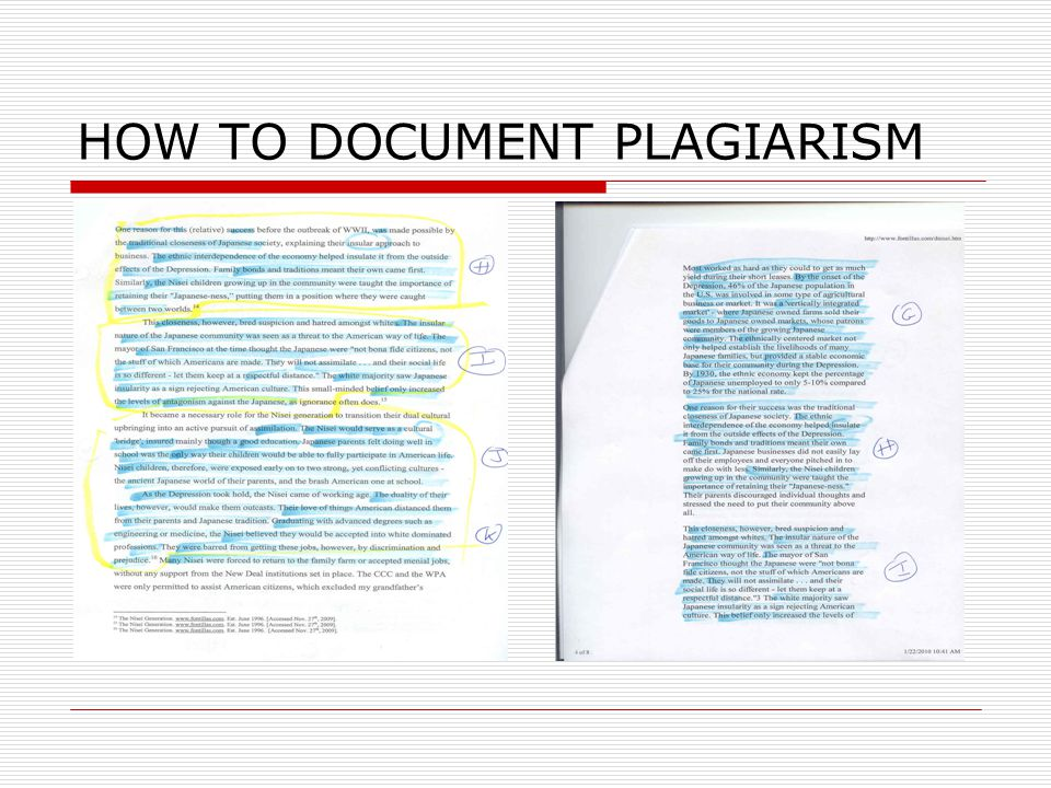 HOW TO DOCUMENT PLAGIARISM