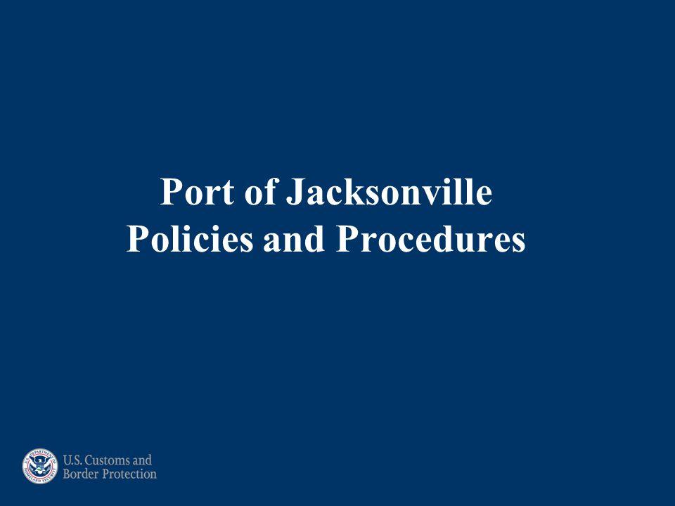 Port of Jacksonville Policies and Procedures