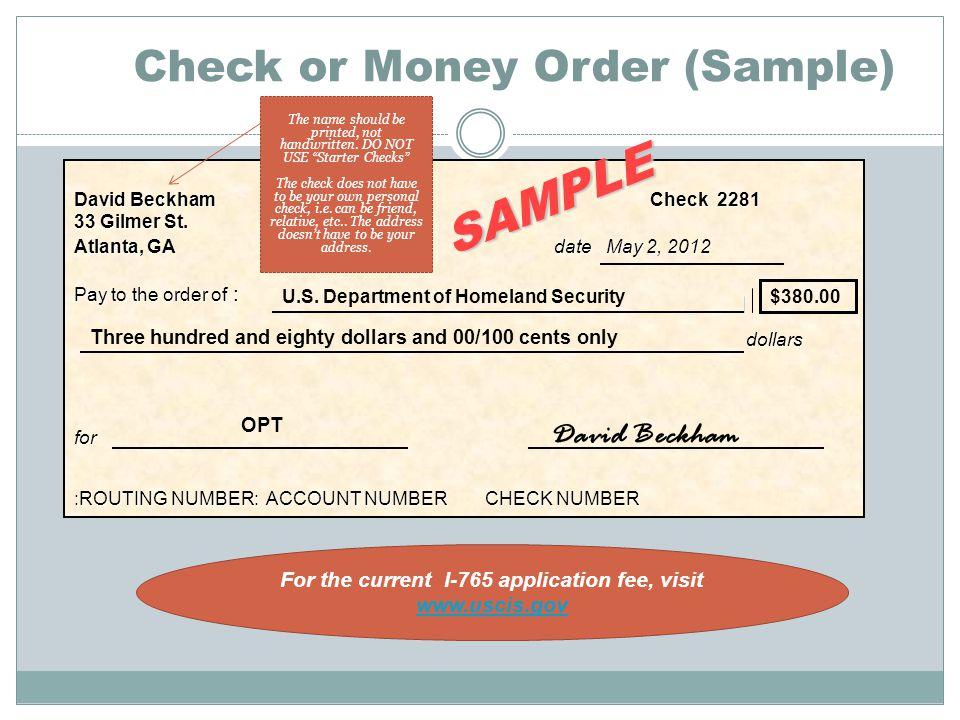 Check or Money Order (Sample) David BeckhamCheck 2281 33 Gilmer St.
