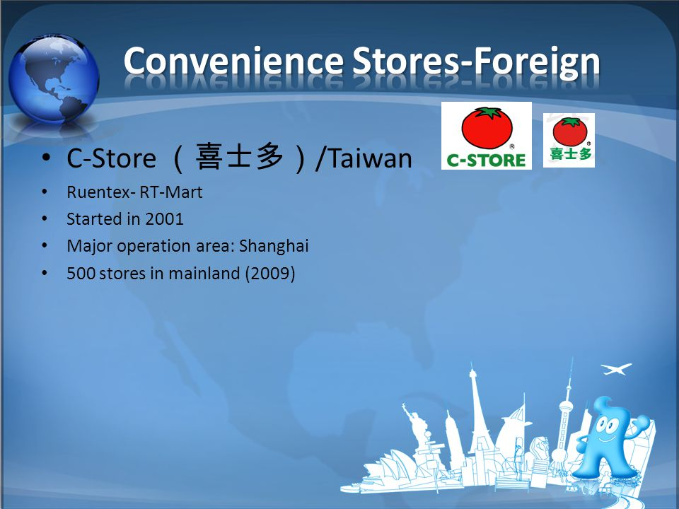 C-Store (喜士多) /Taiwan Ruentex- RT-Mart Started in 2001 Major operation area: Shanghai 500 stores in mainland (2009)