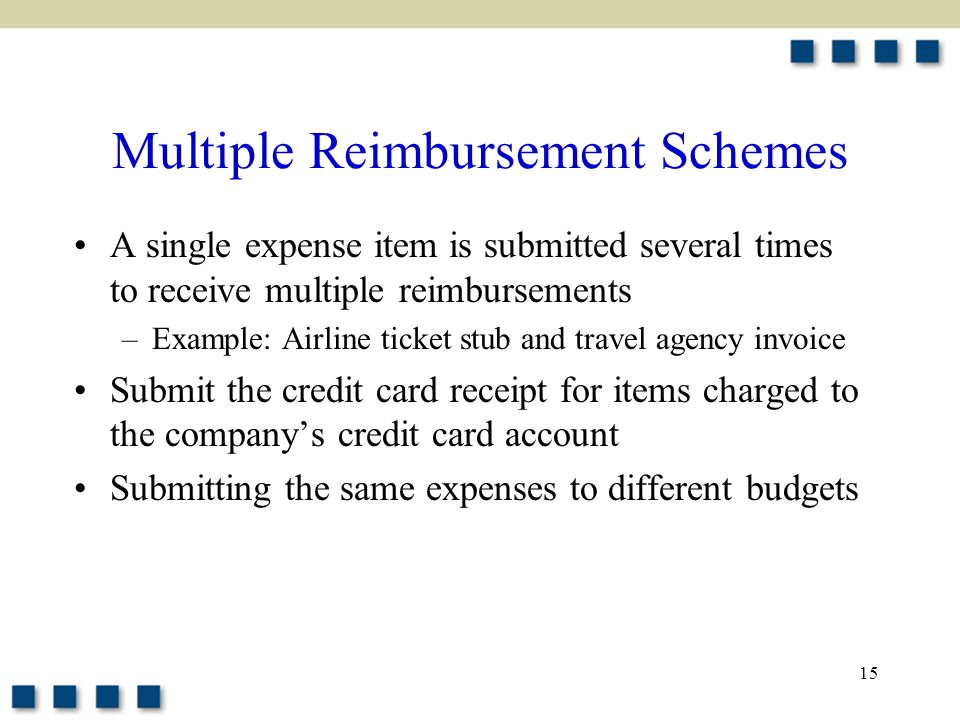 15 Multiple Reimbursement Schemes A single expense item is submitted several times to receive multiple reimbursements –Example: Airline ticket stub and travel agency invoice Submit the credit card receipt for items charged to the company's credit card account Submitting the same expenses to different budgets