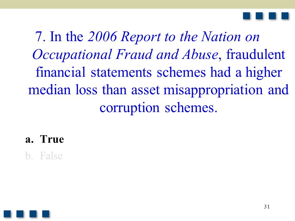 31 7. In the 2006 Report to the Nation on Occupational Fraud and Abuse, fraudulent financial statements schemes had a higher median loss than asset mi