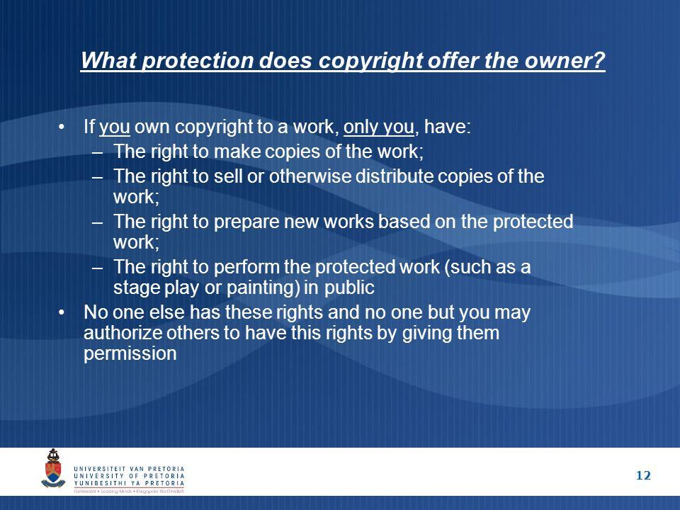 12 What protection does copyright offer the owner.