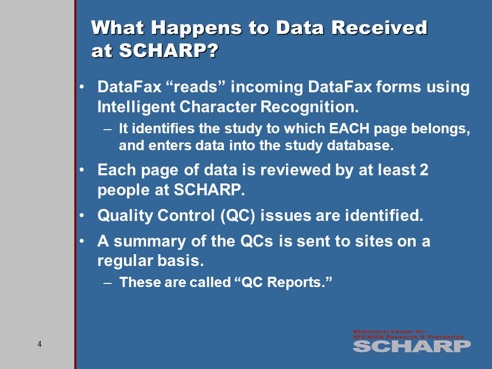 35 Reviewing DataFax Forms Before faxing, site staff must review EACH CRF to check that it is complete, accurate, and all writing is clear.