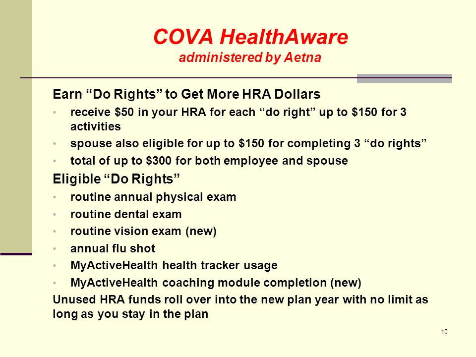MyActiveHealth COVA Care, COVA HDHP and COVA HealthAware Participants MyActiveHealth allows you to access your health information 24/7 Go to www.MyActiveHealth.com/COVAwww.MyActiveHealth.com/COVA Health information in one place Personalized health action items Easy-to-use health tips, tools, and trackers Programs include: Health Insights to help manage chronic conditions Free prescription drugs & supplies when requirements are met Diabetes management Asthma and COPD (new) Hypertension (new) Depending on Plan, hospital co-pay waiver or HRA contribution when requirements are met Bariatric surgery education 11