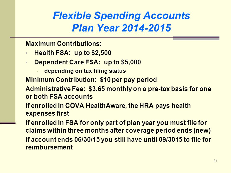 32 Flexible Spending Accounts FSA Benefit Card Annual contribution available on July 1, 2014 Will automatically receive an Elite VISA Benefit card when you enroll in Medical FSA instructions on using the new card will be provided with the card – read carefully Card accepted when: used with a provider, i.e., doctor or hospital, and the charge is equal to the co-pay amount Over-the-counter and prescriptions purchases only accepted at IIAS certified merchants IIAS = inventory information approval system