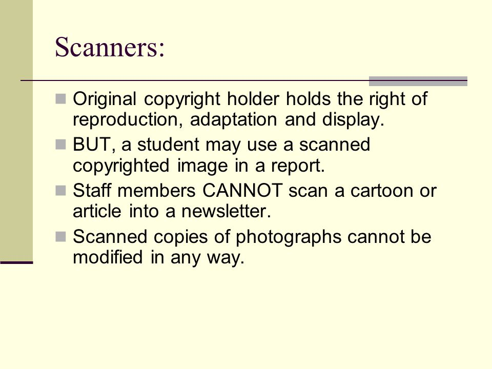 Scanners: Original copyright holder holds the right of reproduction, adaptation and display.
