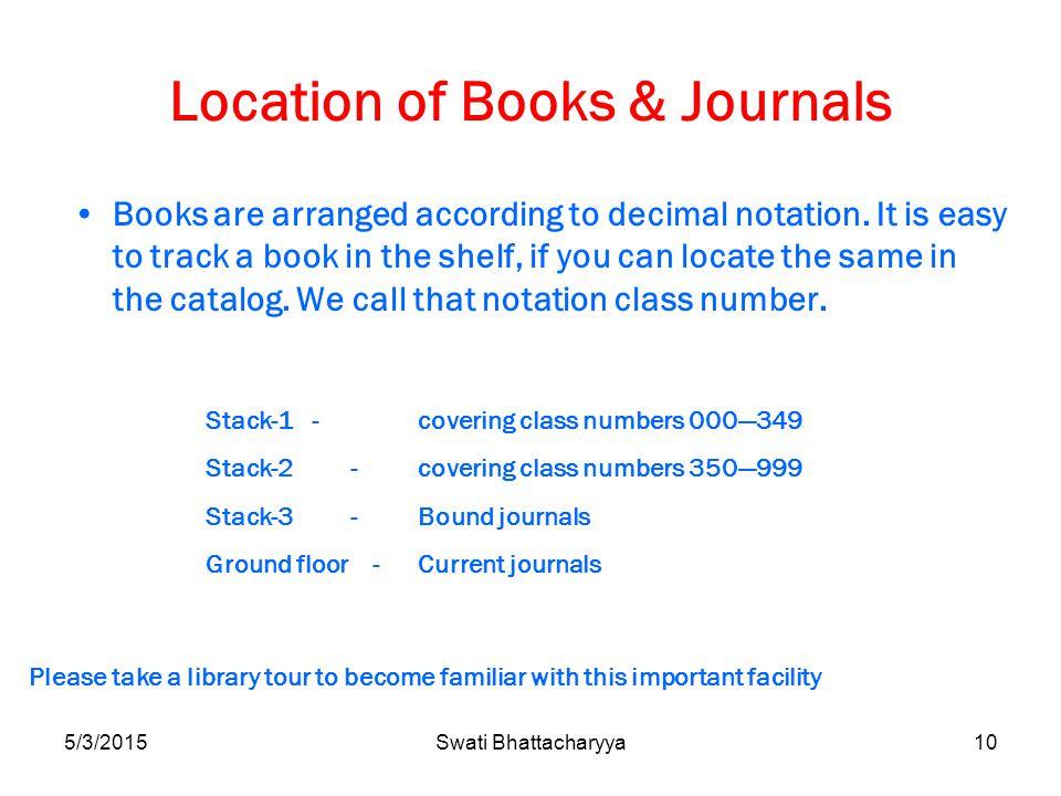 5/3/2015Swati Bhattacharyya10 Location of Books & Journals Books are arranged according to decimal notation.