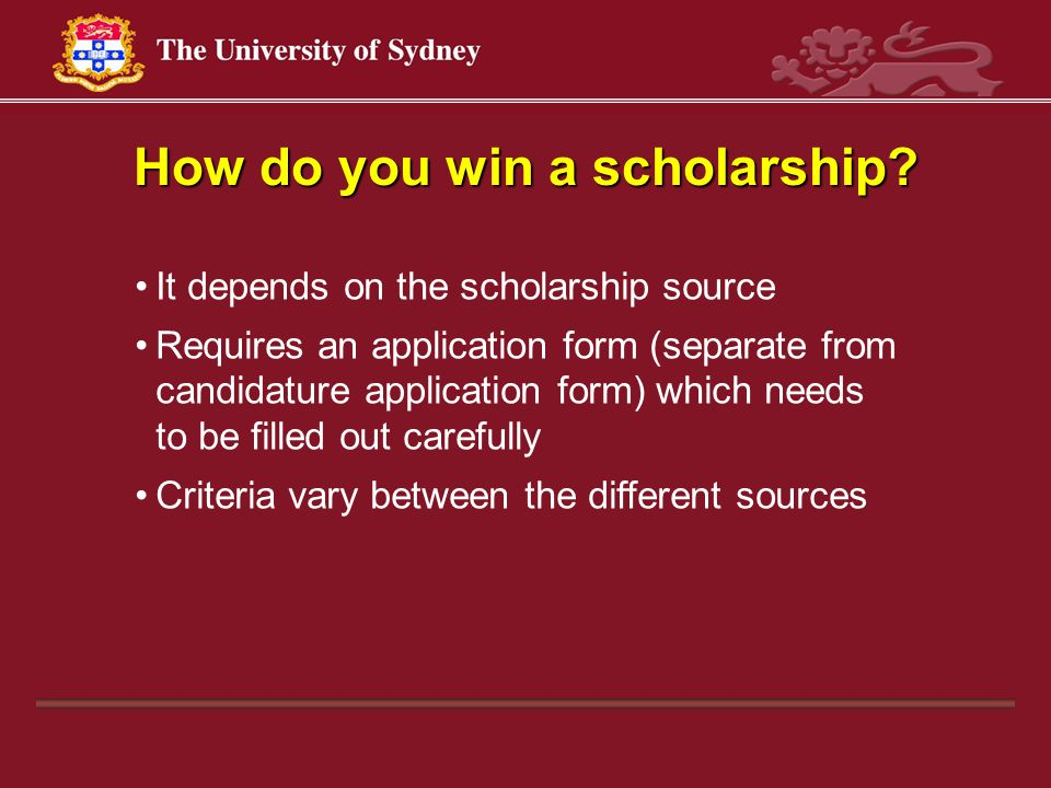 How do you win a scholarship.