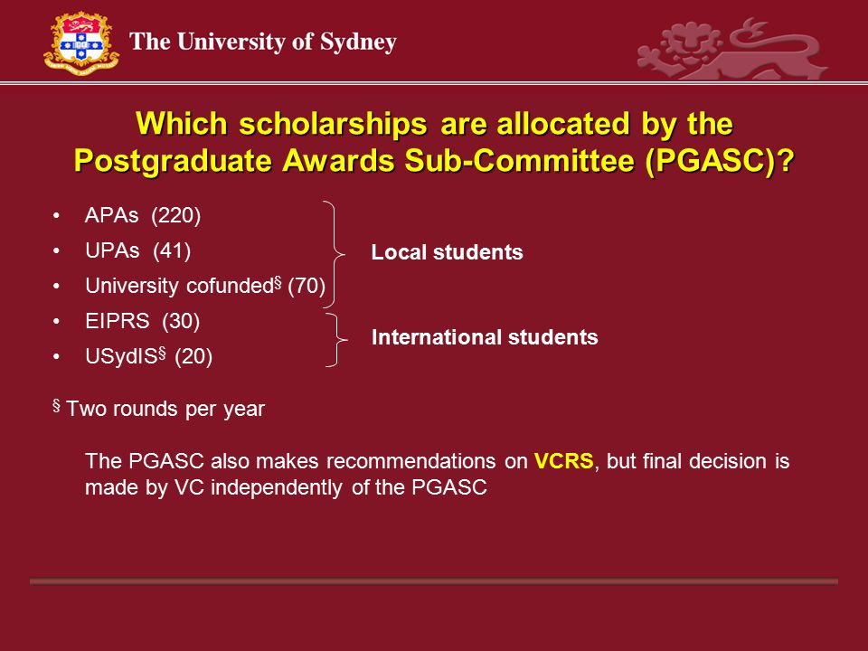 Which scholarships are allocated by the Postgraduate Awards Sub-Committee (PGASC).
