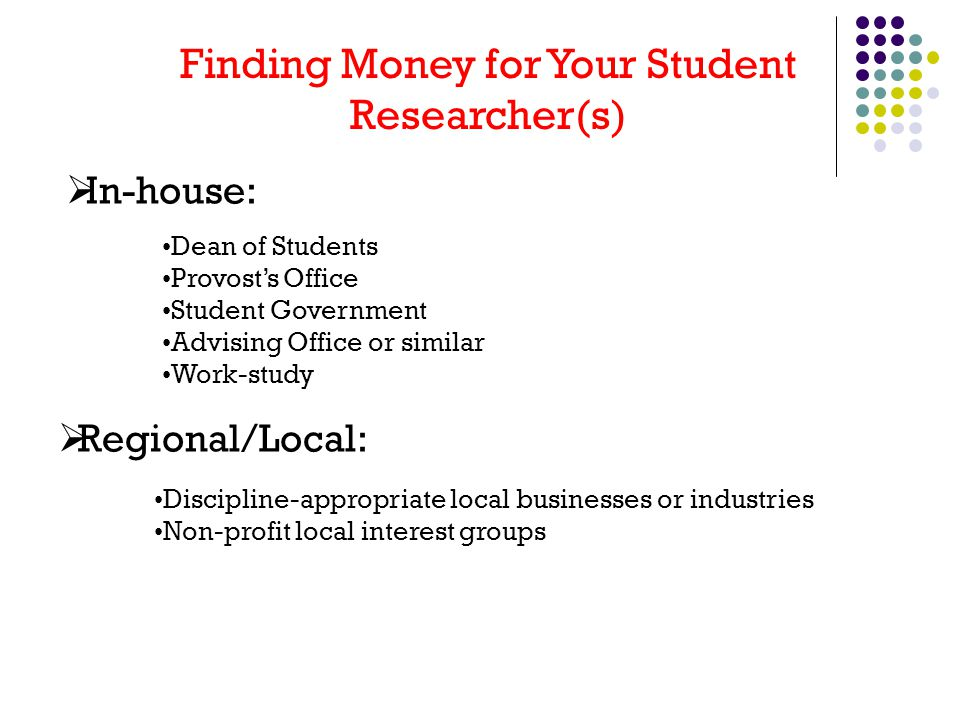 Finding Money for Your Student Researcher(s)  In-house: Dean of Students Provost's Office Student Government Advising Office or similar Work-study  Regional/Local: Discipline-appropriate local businesses or industries Non-profit local interest groups