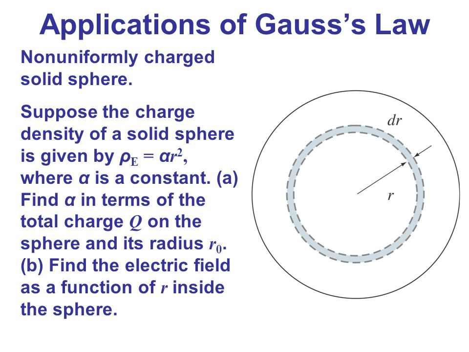 Applications of Gauss's Law Nonuniformly charged solid sphere. Suppose the charge density of a solid sphere is given by ρ E = α r 2, where α is a cons