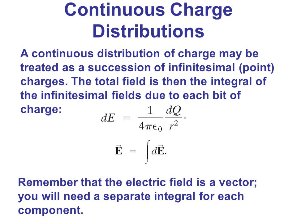 Continuous Charge Distributions A continuous distribution of charge may be treated as a succession of infinitesimal (point) charges. The total field i