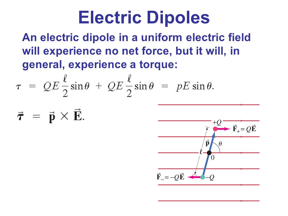 Electric Dipoles An electric dipole in a uniform electric field will experience no net force, but it will, in general, experience a torque: