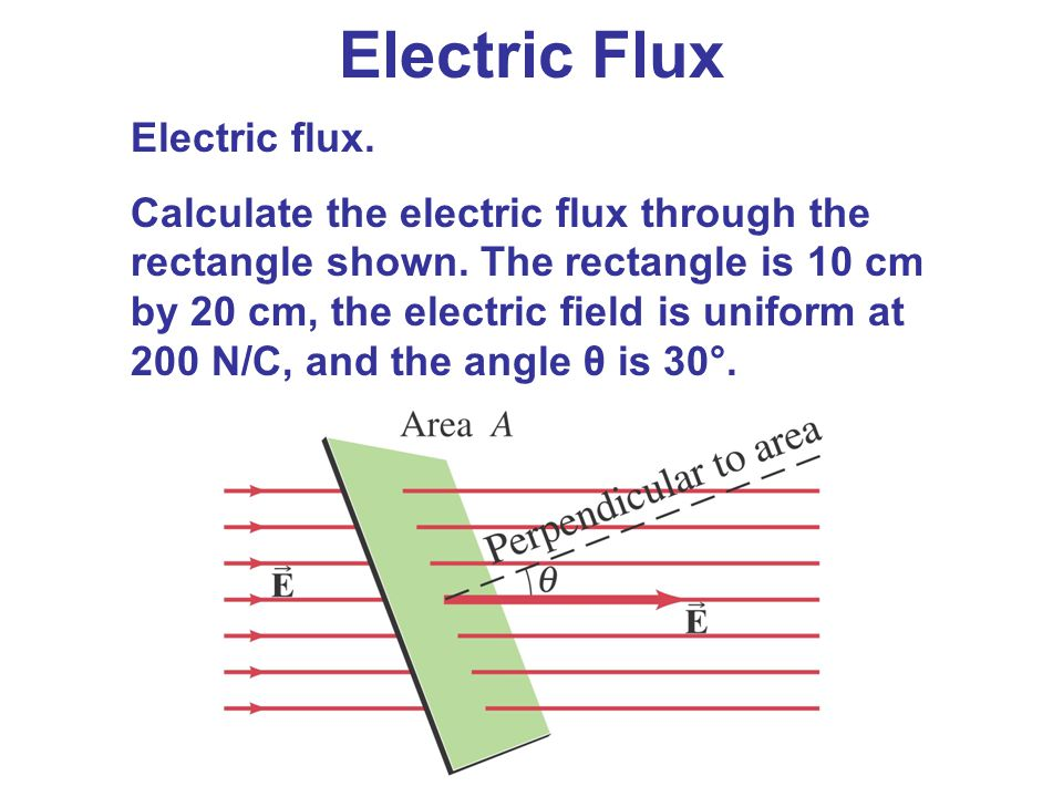 Electric flux. Calculate the electric flux through the rectangle shown. The rectangle is 10 cm by 20 cm, the electric field is uniform at 200 N/C, and