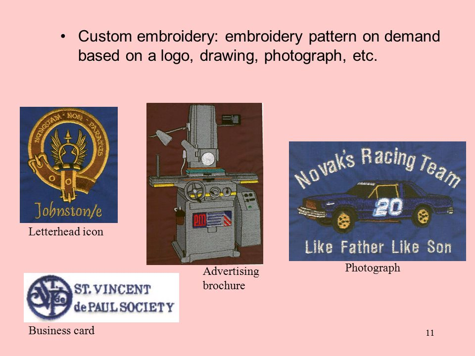11 Custom embroidery: embroidery pattern on demand based on a logo, drawing, photograph, etc. Letterhead icon Business card Advertising brochure Photo