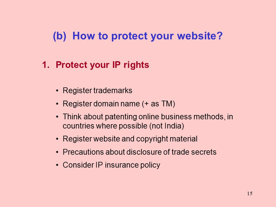15 (b) How to protect your website. 1.