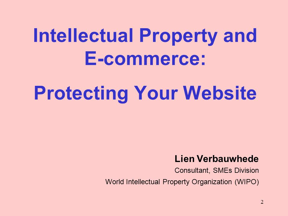 2 Intellectual Property and E-commerce: Protecting Your Website Lien Verbauwhede Consultant, SMEs Division World Intellectual Property Organization (WIPO)