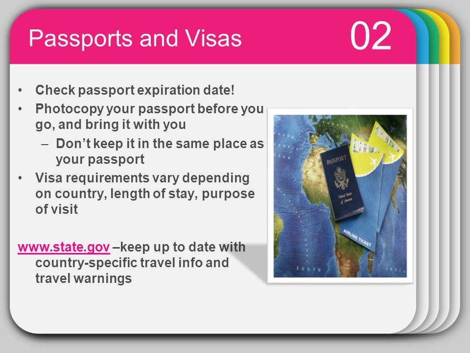 PowerPoint chart object 02 Passports and Visas Check passport expiration date.