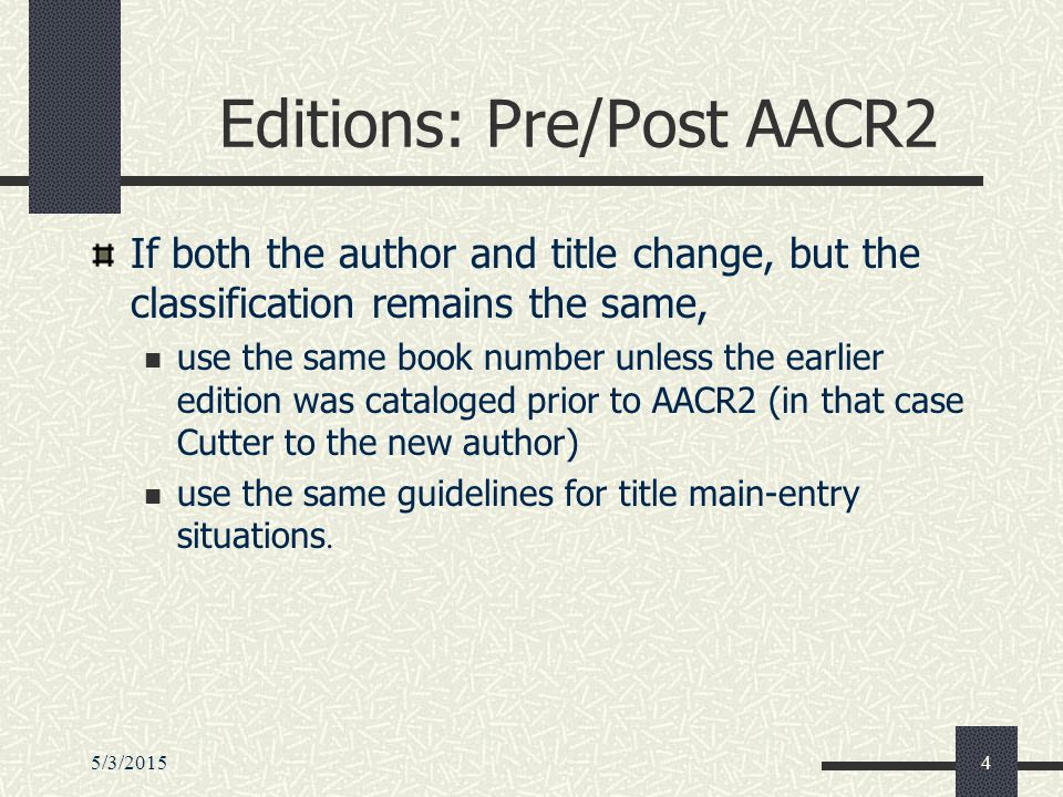 5/3/201535 Type 2 Special PCC Guidelines Shelflist against the LC Online Catalog Use the Cutter previously assigned by LC if available, even if it conflicts with the G 300/G 302 table If a number has not been assigned, use the G 300/G 302 table, but adjust the number if necessary to maintain alphabetical sequence