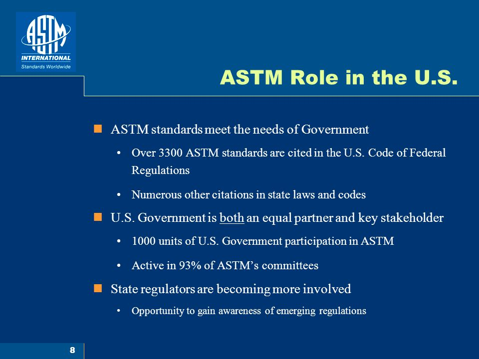 8 ASTM Role in the U.S.