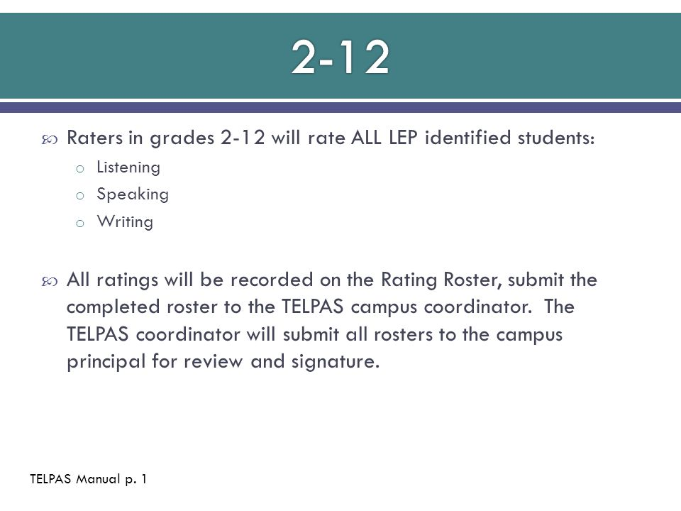  Raters in grades 2-12 will rate ALL LEP identified students: o Listening o Speaking o Writing  All ratings will be recorded on the Rating Roster, submit the completed roster to the TELPAS campus coordinator.