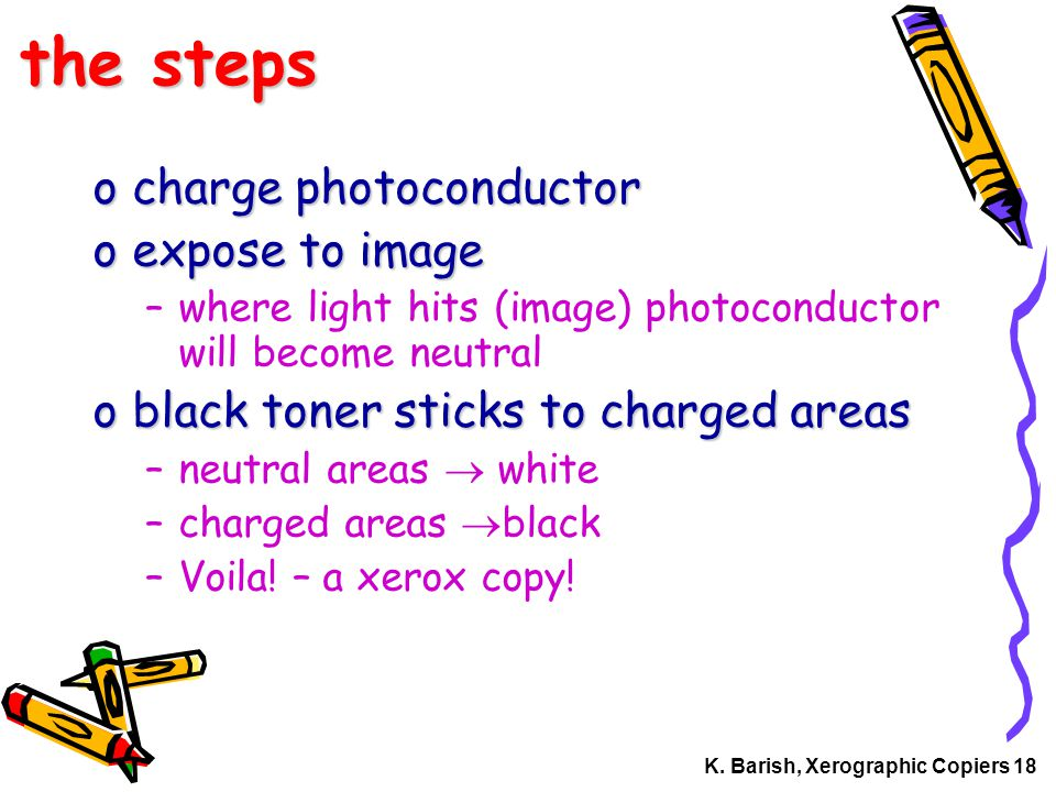 K. Barish, Xerographic Copiers 18 the steps ocharge photoconductor oexpose to image –where light hits (image) photoconductor will become neutral oblac