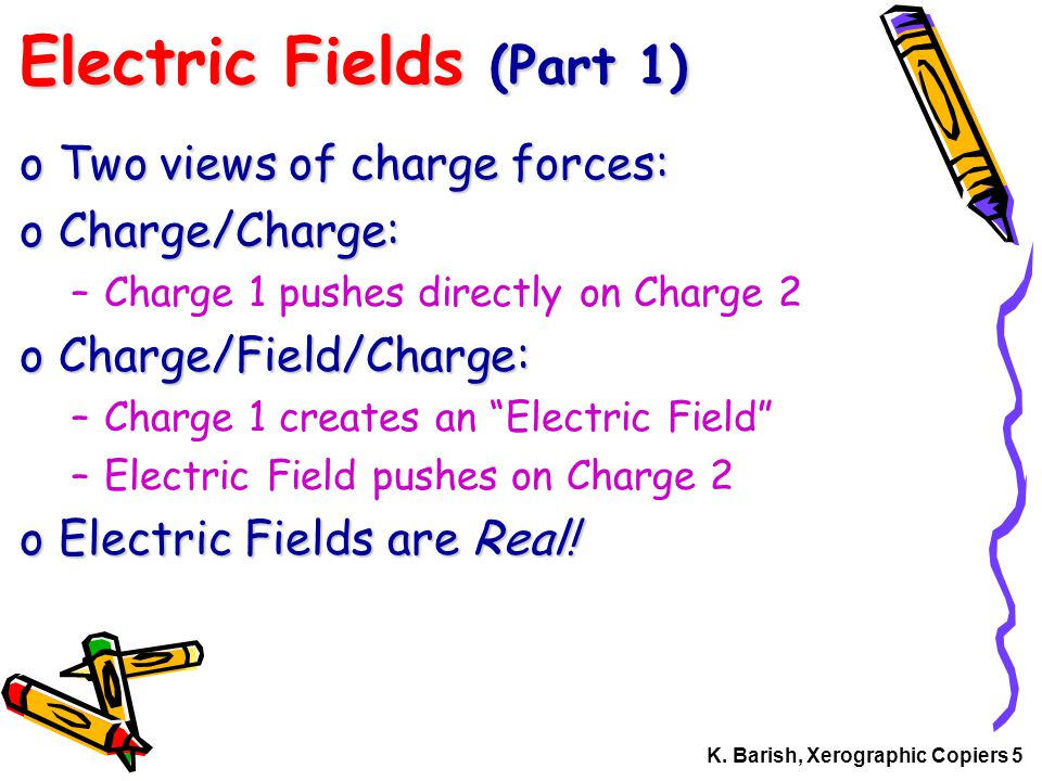K. Barish, Xerographic Copiers 5 Electric Fields (Part 1) oTwo views of charge forces: oCharge/Charge: –Charge 1 pushes directly on Charge 2 oCharge/F