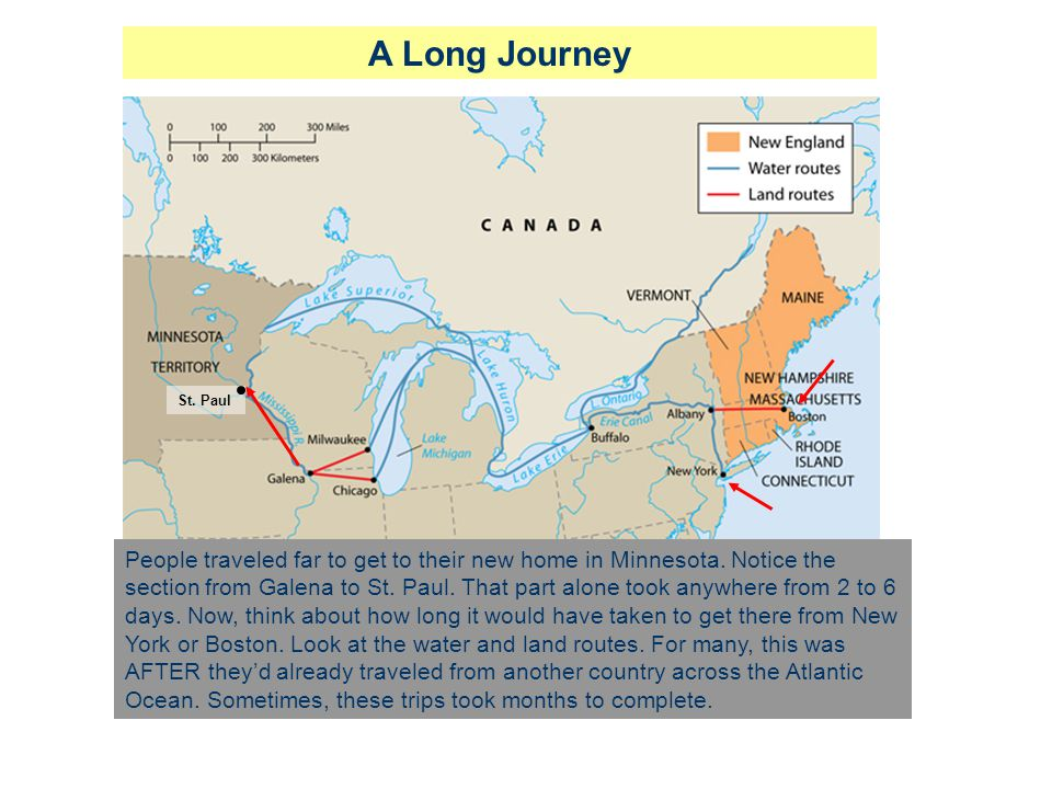 A Long Journey St. Paul People traveled far to get to their new home in Minnesota. Notice the section from Galena to St. Paul. That part alone took an