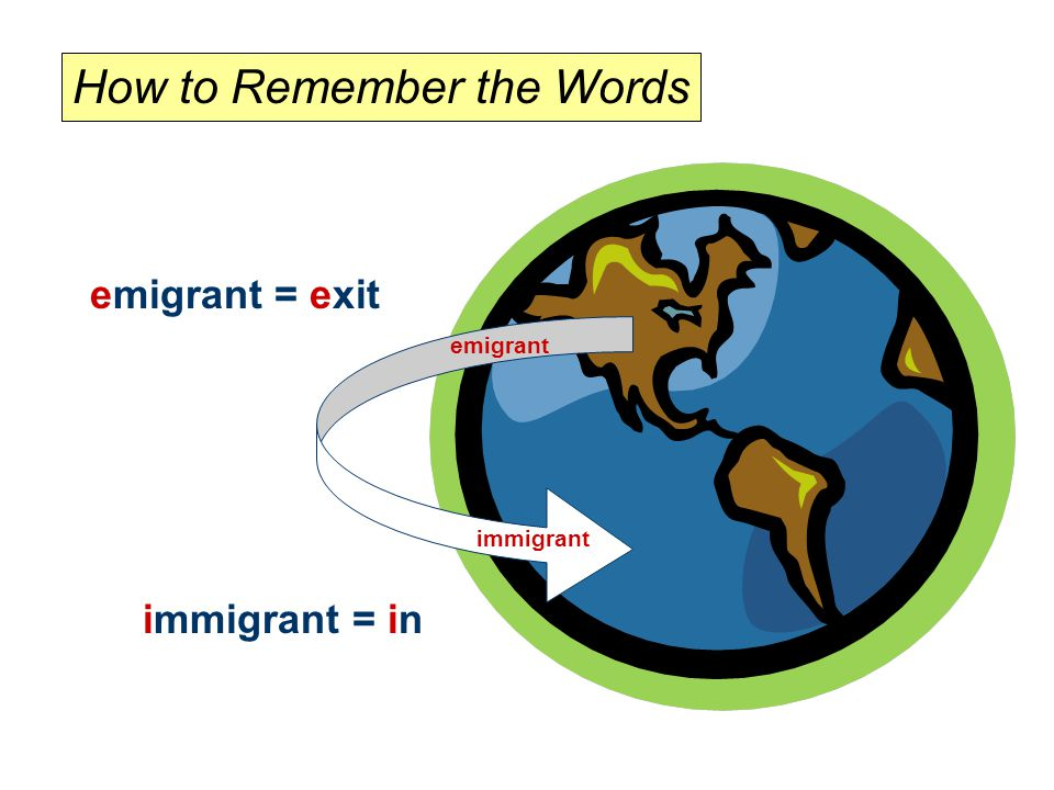 immigrant = in emigrant immigrant emigrant = exit How to Remember the Words