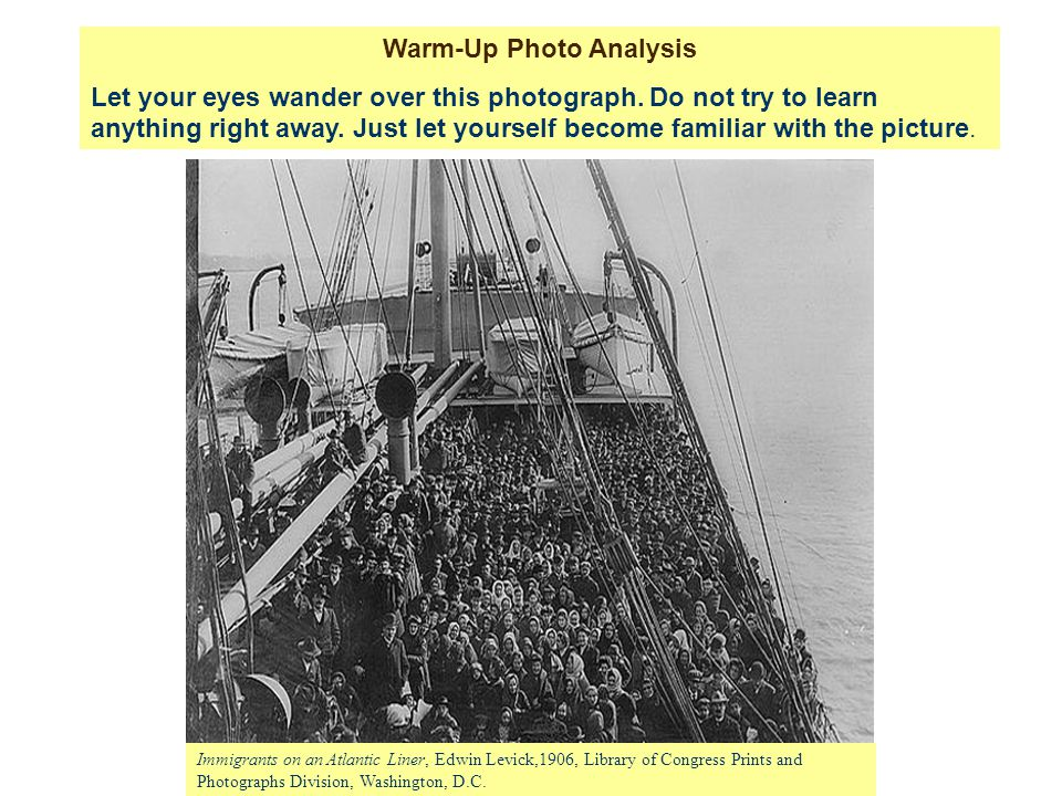 Immigrants on an Atlantic Liner, Edwin Levick,1906, Library of Congress Prints and Photographs Division, Washington, D.C.