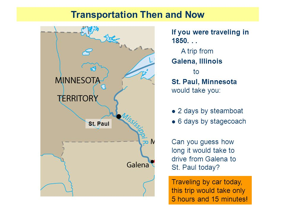 If you were traveling in 1850...A trip from Galena, Illinois to St.