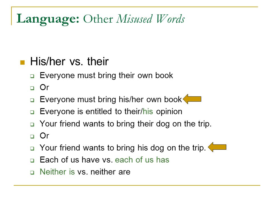 Language: Other Misused Words His/her vs.