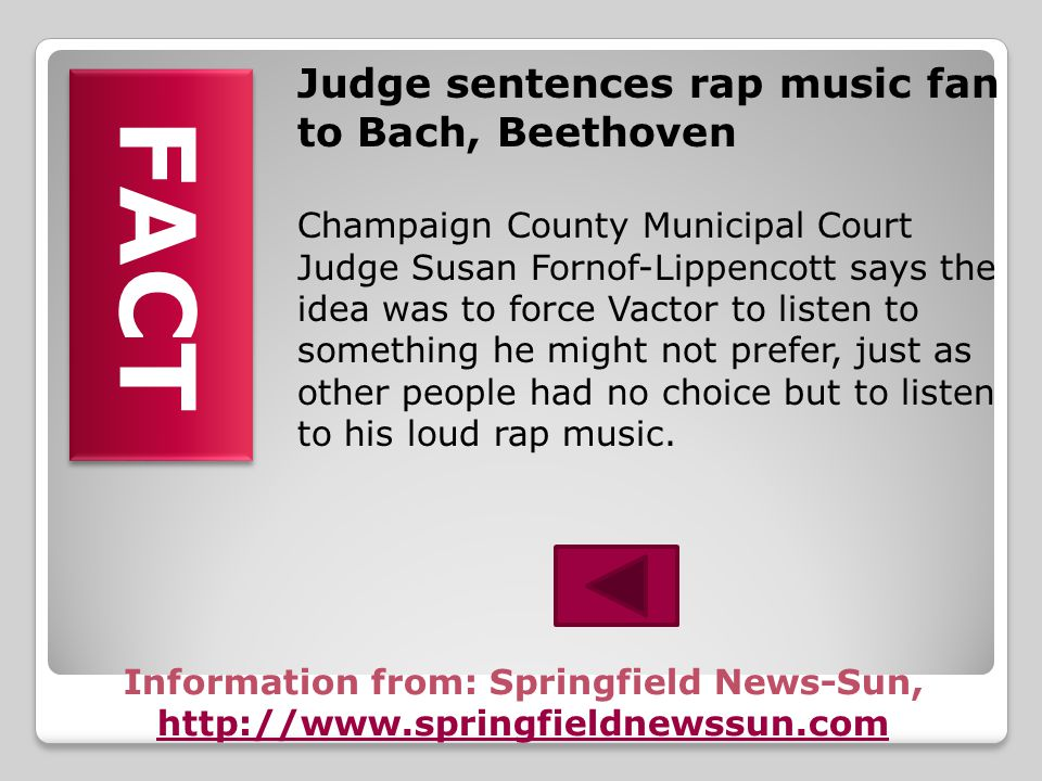 Judge sentences rap music fan to Bach, Beethoven A defendant had a hard time facing the music. Andrew Vactor was facing a $150 fine for playing rap mu