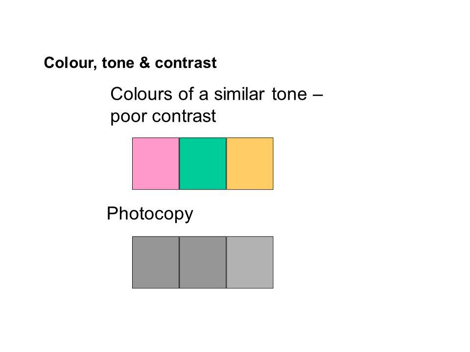 Colours of a similar tone – poor contrast Photocopy Colour, tone & contrast