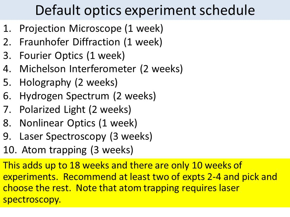 Modern physics experiments Absolute Measurement of the Faraday (2 weeks) Scanning tunneling microscope (3 weeks) Gamma ray spectroscopy (3 weeks) Earth's field nuclear magnetic resonance (2 weeks) Pulsed nuclear magnetic resonance (3 weeks) Lifetime of muons generated by cosmic rays (3 weeks) Soliton propagation (2 weeks) Acoustic feflectometer (2 weeks) X-ray photoemission spectroscopy (3 weeks) X-ray (and other) optical diffraction (3 weeks) Generally pick and choose whichever.