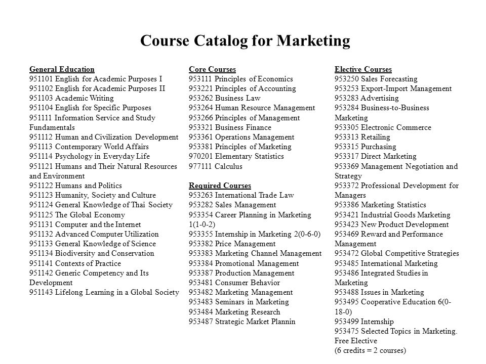 Course Catalog for Marketing General Education 951101 English for Academic Purposes I 951102 English for Academic Purposes II 951103 Academic Writing