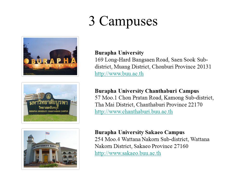 3 Campuses Burapha University 169 Long-Hard Bangsaen Road, Saen Sook Sub- district, Muang District, Chonburi Province 20131 http://www.buu.ac.th http: