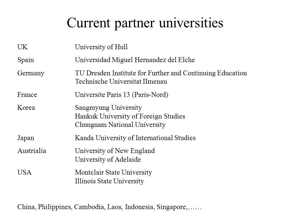 Current partner universities UKUniversity of Hull SpainUniversidad Miguel Hernandez del Elche GermanyTU Dresden Institute for Further and Continuing E