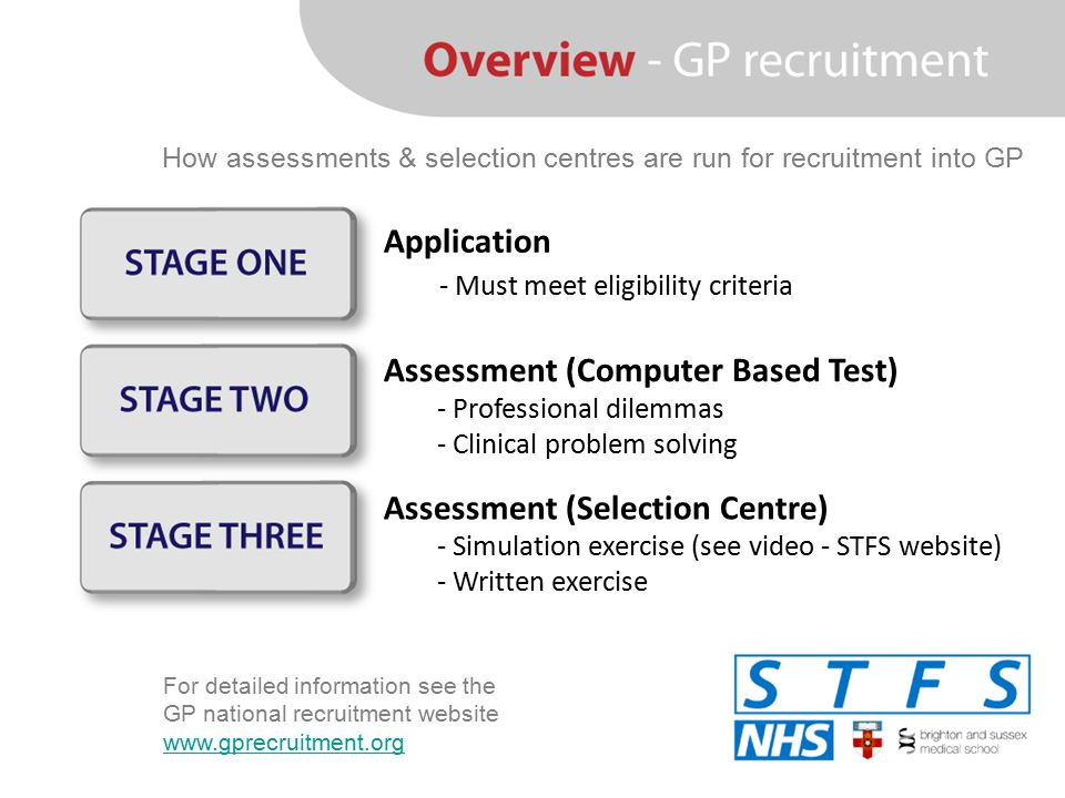 Assessment (Selection Centre) - Simulation exercise (see video - STFS website) - Written exercise Application - Must meet eligibility criteria Assessm
