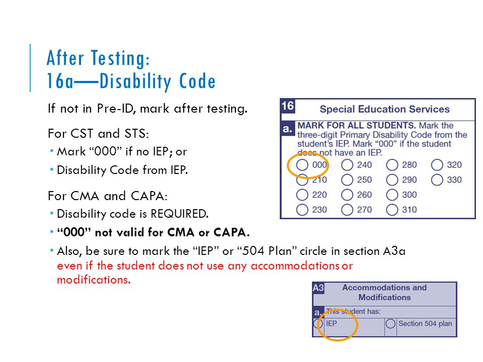 "After Testing: 16a—Disability Code If not in Pre-ID, mark after testing. For CST and STS:  Mark ""000"" if no IEP; or  Disability Code from IEP. For C"
