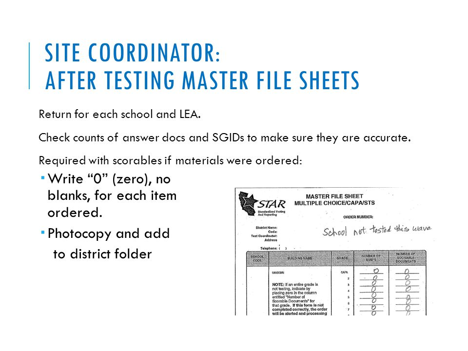 SITE COORDINATOR: AFTER TESTING MASTER FILE SHEETS Return for each school and LEA. Check counts of answer docs and SGIDs to make sure they are accurat