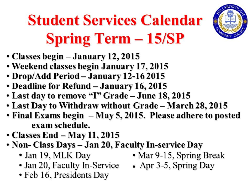 Student Services Calendar Spring Term – 15/SP Classes begin – January 12, 2015 Classes begin – January 12, 2015 Weekend classes begin January 17, 2015 Weekend classes begin January 17, 2015 Drop/Add Period – January 12-16 2015 Drop/Add Period – January 12-16 2015 Deadline for Refund – January 16, 2015 Deadline for Refund – January 16, 2015 Last day to remove I Grade – June 18, 2015 Last day to remove I Grade – June 18, 2015 Last Day to Withdraw without Grade – March 28, 2015 Last Day to Withdraw without Grade – March 28, 2015 Final Exams begin – May 5, 2015.
