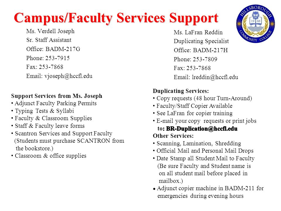 Campus/Faculty Services Support Ms. Verdell Joseph Sr.