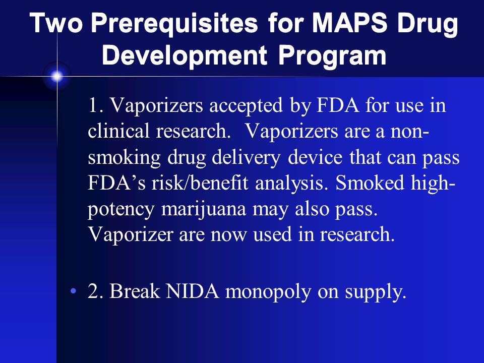 Two Prerequisites for MAPS Drug Development Program 1.