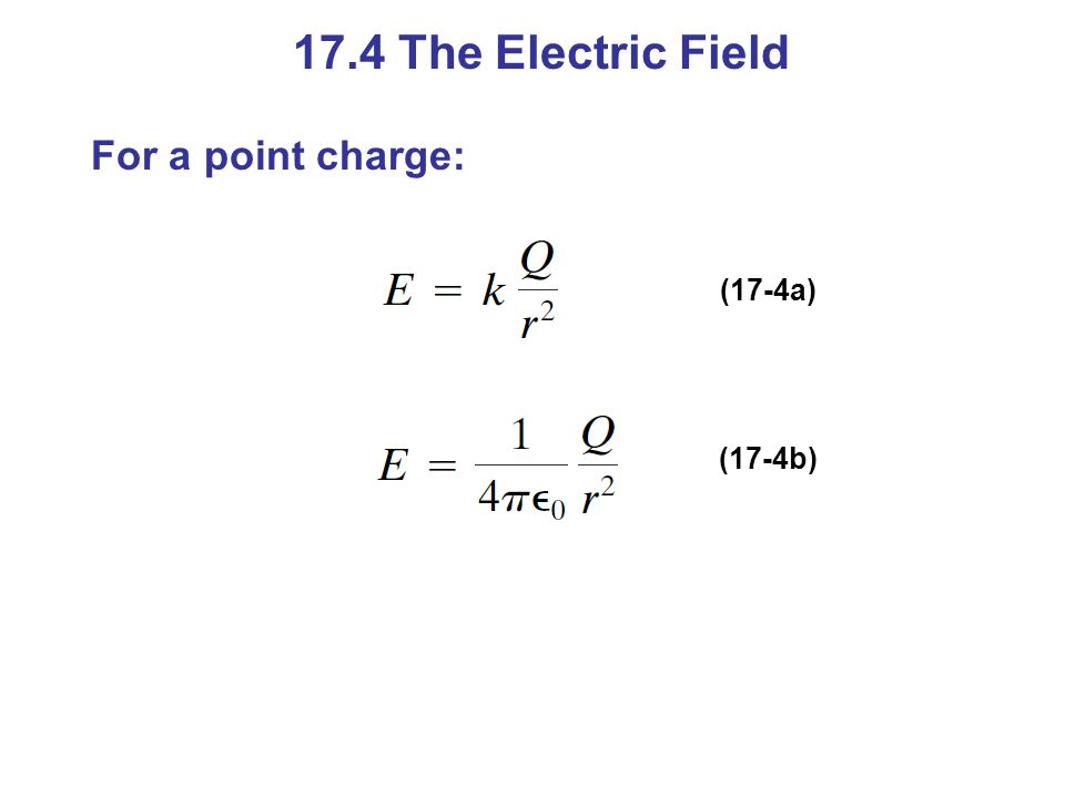17.4 The Electric Field For a point charge: (17-4a) (17-4b)
